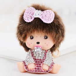 Wholesale Monchichi Dolls - Kawaii Monchichi Doll with Pink Bow Rhinestone Keychain Car Keyring Women's Girl's Handbag Pendant Charms Best Gift