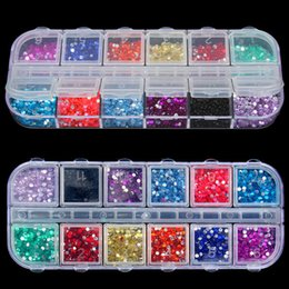 Wholesale Mixed Uv Gel - New Mix 12 Color 2mm Circle Beads Nail Art Tips Rhinestones Glitters Acrylic UV Gel Gems Decoration with Hard Case
