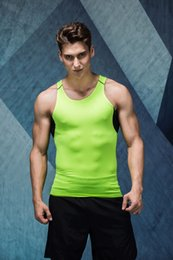Wholesale Sexy Men Tight Clothing - Wholesale- Men compression tank top lycra bodybuilding sleeveless shirt clothing stringer tights quick dry mens tops vest singlet