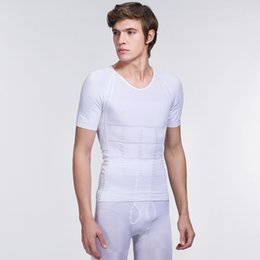 Wholesale Neck Posture - BODY SCULPTING SHAPER T-SHIRT SHORT SLEEVE Male men's posture correction round neck slimming shirt waist trainer corsets for free shipping