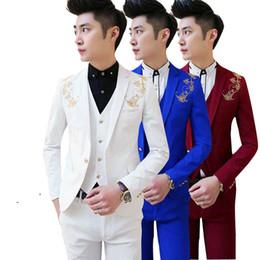 Wholesale Korean Tuxedo Jackets - Wholesale- free shipping 2016new Korean Mens casual suit Slim fit boys prom suits 3-piece royal blue mens suit wedding red tuxedo jacket