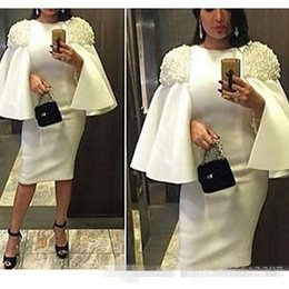 Wholesale Elegant Evening Dress Knee Jacket - Elegant White Arabic Style Prom Party Dresses 2017 Half Long Sleeves Knee Length Pearls Custom Made Plus Size Evening Occasion Gowns Cheap