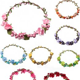 Wholesale Headband Garland - bohemian flower headband garland crown festival wedding bride bridesmaid hair wreath BOHO floral headdress headpiece flower berry leaf crown