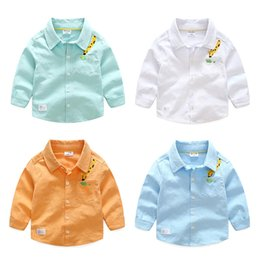 Wholesale Boys Giraffe Clothes - Boutique Shirts for boy Long sleeve Cartoon Giraffe embroider Kids clothing Cotton linen 2017 Fall Spring Students school boy Tops 2-7years