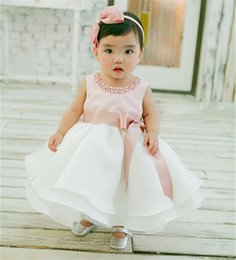 Wholesale Infant Girls Chiffon Dress - Wholesale- New Infant Baby Girl Wedding Dress Baptism Christening Gown Pageant Dress With Pearls Toddler Girls Princess Dress For 0-2 Years