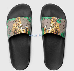 Wholesale Thick Leather Heels - 2017 men's fashion designer slide sandals with Tiger printing leather and thick feetbed rubber sole size euro 38-45