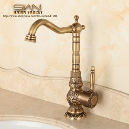 Wholesale Basin Mixer Taps Swivel Spout - Wholesale- Antique Brass Bathroom Faucet Lavatory Vessel Sink Basin Kitchen Faucets Mixer Tap Swivel Spout Cold And Hot Water Chinese Style
