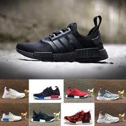 Wholesale Floor Cut - 2017 NMD Runner R1 Primeknit Black Triple Run Running Shoes Men & Women Lover's Lightweight Breathable Athletic Sport Sneakers 36-45