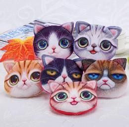 Wholesale Headphones Animal Print - 3D Printing Cat Face Fidget Spinner Bags Cartoon Handbag Plush MINI Coin Purses Wallets Zipper Key Headphone Holder Bags