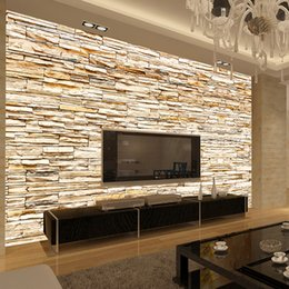 Wholesale waterproofing stone walls - Non-Woven Fashion 3d Stone Bricks Wallpaper Mural For Living Room Sofa Background Walls Home Gold Wallpaper 3D Home Decor