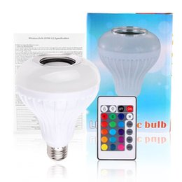Wholesale Wholesale Home Audio - AC100-240V Bluetooth 3.0 Music Audio RGB Speaker Light RGB 12W E27 LED Bulb Lamp for iOS Android with Remote Control