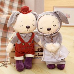 Wholesale Stuff Wedding Couple - BONTOYSHOP Wholesale High Quality British Garden Rabbit Couple Rabbit Plush Toys Stuffed Animal Dolls Wedding Doll&Gift Kids Toys