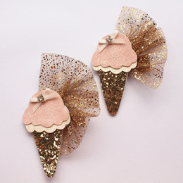 accessories felt Promo Codes - New Icecream Girl Glitter Felt Hair Clip Ice cream design Modish Girls Kids Hairpin Elegant Girls Hair Accessory