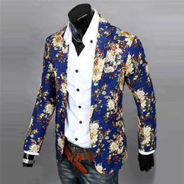 Wholesale Long Suit Coats For Men - Wholesale- Mens Floral Suit Blazer Jacket Coat Slim Fit Printed Flower Blazer For Men High Quality Casual Design Wholesale 0168