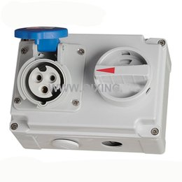 Wholesale Ip44 Plug - QX7274 IP44 3P 16A 230V 6h Industrial Electric Interlock Switch Socket Mechanical Interlock Explosionproof Plug and Socket Outlets