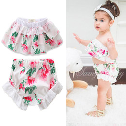 Wholesale Toddler High Waist Shorts - Flowers baby sets toddler girls floral printed tiered falbala slash neck high waist tops+hollow lace shorts 2 pc clothing sets T3573