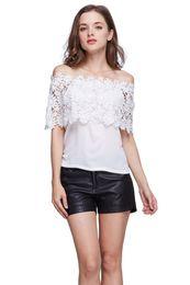 Wholesale Wholesale Lace Shirts - Plus Size S-XXL Blusas Summer Style Women Sexy Tops Casual Off Shoulder Blouse Chiffon Lace Floral Blouse Solid Shirts
