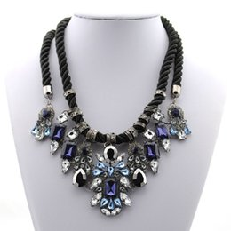 Wholesale Vintage Gem Necklace - Wholesale Gorgeous Gem Collars Maxi Collar Multi Layer Crystal Statement Necklace Vintage Choker Necklaces & Pendants For Women