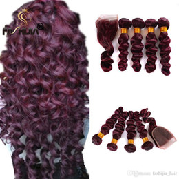 wavy permed hair Coupons - Brazilian human hair lace front with bundles Brazilian wet deep loose wavy weaves closure burgundy wine red deep 4 bundles with closure