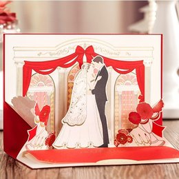 Wholesale Red Gold Wedding Card - Wholesale- Luxury Wedding Invitations 3D Red Gold Romantic Couple Marriage Invitation Card+Envelopes+Printing Convites Casamento
