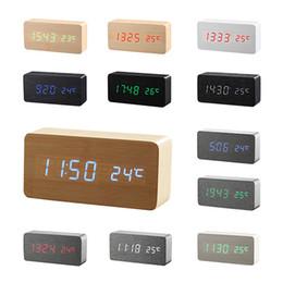 Wholesale Led Table Clock Temperature - Wooden LED Alarm Clock+Time date temperature Digital Bamboo Wood Clock Voice Activated Table Clocks Reloj Despertador Wekker