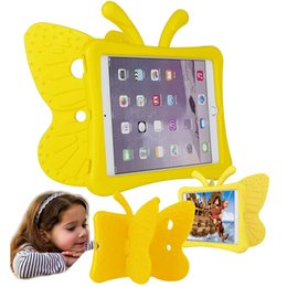 ipad shell stand Promo Codes - 3D Cartoon Butterfly Kids Light Weight Silicon Hybrid Foam Shockproof Soft Stand Rubber Cases EVA Tote Holder for Ipad Mini 1 2 3