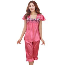 Wholesale Pijama Pants - Wholesale- 2016 New Silk-Like Sexy Pijama Autumn Fall Women Pajamas Noble Clothing + Knee length Pant Two Sets Of Suits Pajama Sets
