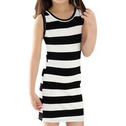 Wholesale Summer Dresses For Kids Sale - Hot Sale Children Girls' Clothing Black And White Stripes Summer Girl Dress 100% Cotton 3-14 Kids Vest Dresses for Teenage Girls