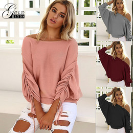 Wholesale pink ruffle sweater - Autumn winter Ruffle Knitted Sweater Female Casual Loose Shoulder Strapless Solid Style Tops Sweaters Sweater shirts Free Shipping