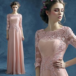 Wholesale Collar Fur Cheap - Wholesale Evening Dress 100% Elegant Evening Dresses Long Sleeve A-Line Chiffon Beaded Cheap Long Evening Prom Dress