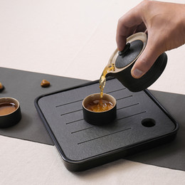 Wholesale Bubble Tea Cups - Dry bubble Taiwan Water Bamboo melamine plate of black tea table small set of stone tea tray tea cup Quik Travel Set