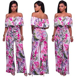 Wholesale Women Sexy Jumpsuits Wide Leg - 2017 Summer New Fashion Women Ladies Flower Printed Jumpsuit Sexy Off Shoulder Rompers Wide Leg Long Pant Overalls