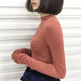 Wholesale Korean Garments Red - Green ( Real Time ) 2016 Autumn New Pattern Korean Solid Color Self-cultivation High Elastic Pure Cotton Rendering Unlined Upper Garment