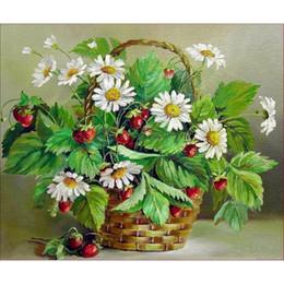 Wholesale Painted Basket - Europe Acrylic Chrysanthemum flower basket Round Diamonds Diamond Painting Partial Sticking Diamond Embroidery