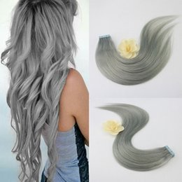 Wholesale Thick Tape Hair Extensions - Free Shipping Wholesale Human Hair Products Full Cuticle Thick End Tape Color Grey Silver In Hair Extentions Fast Shipping Hair Extensions