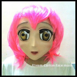 Wholesale Japanese Eye Mask - Top Grade latex Female Sweet Girl Half Head Kigurumi Mask With BJD Eyes cartoon Cosplay Japanese Anime Role Lolita Mask Crossdress Doll