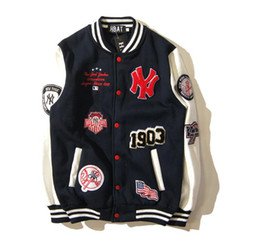 Wholesale College Baseball Uniforms - 2017 new styie justin bieber Embroidery Letter baseball uniform pilot jacket coat palace MA-1 flight jacket Palace college jacket