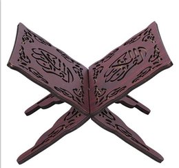 Wholesale Engravings Book - Wholesale-Quran koran Holder Reading folding Stand Rehal Wooden Engraved Carved Islam Quran Book Stand Holder