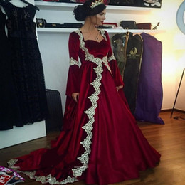 Wholesale White Velvet Long Dress - 2017 Two Pieces Dress Burgundy Velvet Evening Dresses Long Sleeve White Lace Sweep Train African Prom Dresses Gowns Arabic