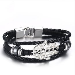 Wholesale Charms For Bracelets Wholesale Hamsa - Black Braided Leather Bracelet for Men Jewelry Fashion Hamsa Men's Genuine Leather Bracelets & Bangles BL-225B