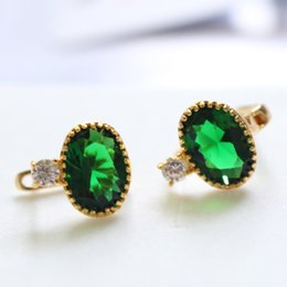 Wholesale Emerald Earrings Oval - Emerald Pure 24k yellow gold filled solid Oval Shape crystal stone Women hoop earrings perfect gift
