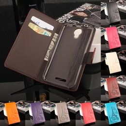 Wholesale Card Models Wholesale - Folio Wallet PU Leather Protective Flip Stand Cards Slots Case with Tower Embossing Process for Alcatel One Touch Pixi 4 More Models option