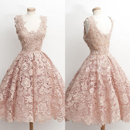 Wholesale Knee Length Juniors Cocktail Dresses - Real Photo Blush Pink Lace Ball Gown Prom Dresses V-Neck Short Cheap Homecoming Dresses For Juniors 2018 New Girls Cocktail Party Dress