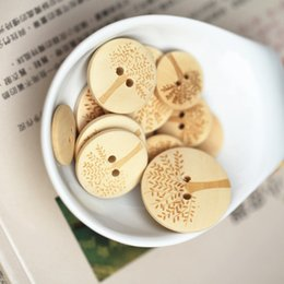 Wholesale Handmade Wooden Buttons - Free Shipping 100pcs20mm Tree Pattern 2 Holes Wood Sewing Buttons handmade diy accessories wooden buttons