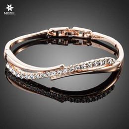 Wholesale Swarovski Pave - Wholesale MOZEL Fashion Jewelry Swarovski Elements Rose Gold Plated Stellux Austrian Crystal Paved Bangle Bracelet TB0022