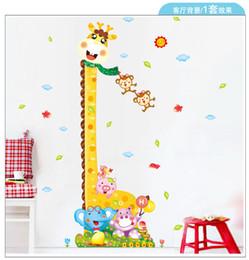 Wholesale Giraffe Growth Chart - Kids Height Chart Wall Sticker Home Decor Cartoon Giraffe Height Ruler Home Decoration room Decals Cartoon Wall Art Sticker