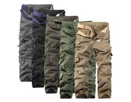 2019 pantalones multi color caqui 2017 hombres pantalones de carga de color caqui casual camuflaje para hombre multi pantalones de bolsillo largo ejército militar pantalones de trabajo 28-40 pantalones multi color caqui baratos