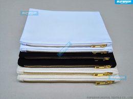 Wholesale Golden Zipper - 100pcs lot 7x10 Inches Blank Natural Cotton Cosmetic Bag 12 oz Natural Canvas Zipper Pouch Plain Blank Makeup Bag With Golden Metal Zipper