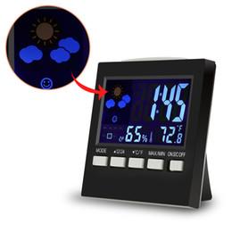 Wholesale Digital Light Meter Lcd - Wholesale-Pro LCD Digital Thermometer Hygrometer Indoor Electronic Temperature Humidity Meter Night Lighting +Alarm Clock Prenium Device