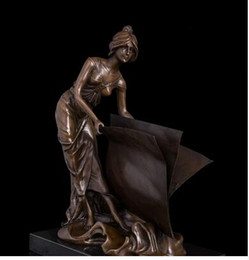 Wholesale Vintage Craft Books - Vintage CRAFTS ARTS Classical Bronze Statue lady sculptures for home decorationThe beauty with book figurines lost wax casting Books girl fi